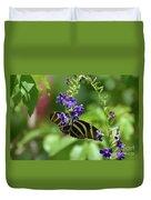 Stunning Black And White Zebra Butterfly In The Spring Duvet Cover