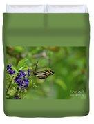 Stunning Shot Of A Zebra Butterfly On A Flower Duvet Cover