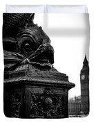 Sturgeon Lamp Post With Big Ben London Black And White Duvet Cover