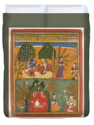 Style Of Manohar    Krishna And Radha With Their Confidantes Page From A Dispersed Gita Govinda Duvet Cover