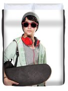 Stylish Boy With Skateboard Duvet Cover