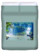 Subtropical Vegetation Surrounds Waterfalls In Iguazu Falls National Park-brazil Duvet Cover