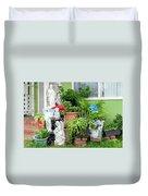Suburban House With Front Yard Religious Shrine Hayward California 10 Duvet Cover