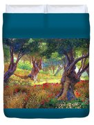 Poppies And Olive Trees Duvet Cover