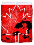 Sudbury Street Map - Sudbury Canada Road Map Art On Canada Flag Symbols Duvet Cover