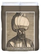 Suleyman The Magnificent , Engraved By Melchior Lorck Duvet Cover