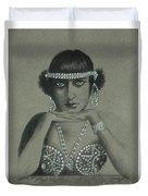 Sultry Silent Star -- Portrait Of Silent Film Star Duvet Cover