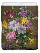 Summer Arrangement In A Glass Vase Duvet Cover