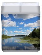 Summer Cloud Reflections On Little Indian Pond In Saint Albans Maine Duvet Cover