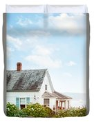 Summer Cottage And Flowers By The Ocean Duvet Cover
