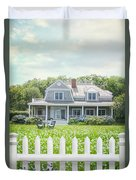 Summer Cottage And White Picket Fence With Flowers Duvet Cover