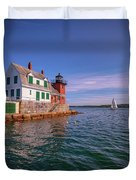 Summer Day At Rockland Breakwater Duvet Cover