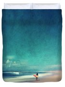 Summer Days - Abstract Seascape With Surfer Duvet Cover