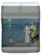 Summer Evening On The Beach At Skagen The Artist And His Wife Duvet Cover
