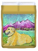 Summer In The Mountains With Summer Snow Duvet Cover