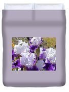 Summer Iris Garden Art Print White Purple Irises Flowers Baslee Troutman Duvet Cover