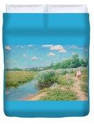 Summer Landscape With Children Duvet Cover