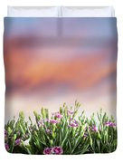 Summer Meadow Flowers In Grass At Sunset. Duvet Cover
