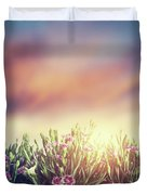 Summer Meadow Flowers In Grass At Sunset. Vintage Duvet Cover