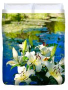 Summer Pond French Lilies Duvet Cover