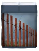 Summer Storm Beach Fence Duvet Cover