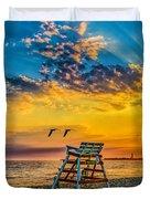 Summer Sunset On The Beach Duvet Cover
