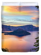 Sunset At Crater Lake, Oregon Duvet Cover
