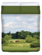 Summer Tractor In Field Corinna Maine Duvet Cover