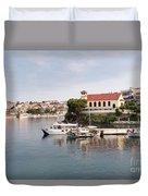 summer vacation scene Neos Marmaras Greece Duvet Cover