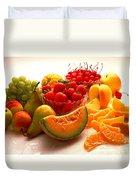 Summertime Fruit On White Duvet Cover