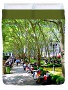 Summertime In Bryant Park Duvet Cover