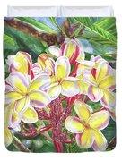Summertime Kauai Island Plumeria Watercolor By Jenny Floravita Duvet Cover