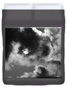 Sun And Clouds - Grayscale Duvet Cover