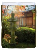 Sun Beams Over Japanese Stone Lantern Duvet Cover