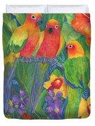 Sun Conure Parrots Duvet Cover