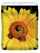 Sunflower And Bees Duvet Cover