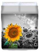 Sun Flower B And W Duvet Cover
