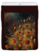 Sun Flowers And Physialis  Duvet Cover