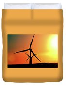 Sun Glare Upon Alberta Windfarm Duvet Cover