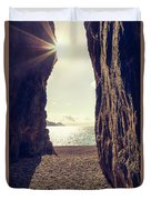 Sun Glinting Through A Cave At Bussaglia Beach In Corsica Duvet Cover