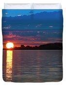 Sun Is Setting Over Port Hood Island Duvet Cover