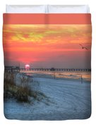 Sun Over Sea N Suds And Pier Large Duvet Cover