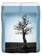Sun Rays And Bare Lonely Tree Duvet Cover
