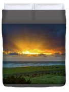 Sun Rays At Long Beach Washington During Sunset Duvet Cover