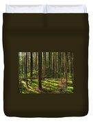 Sun Rays In Forest Duvet Cover