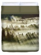 Sun Rays Over Foggy Oregon Forest Duvet Cover