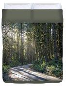 Sun Rays Through The Forest Duvet Cover
