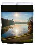 Sun Rising Over Lake Inspiration Duvet Cover