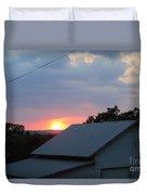 Sun Set On Barn  Duvet Cover