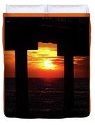 Sun Setting At The Pier Duvet Cover